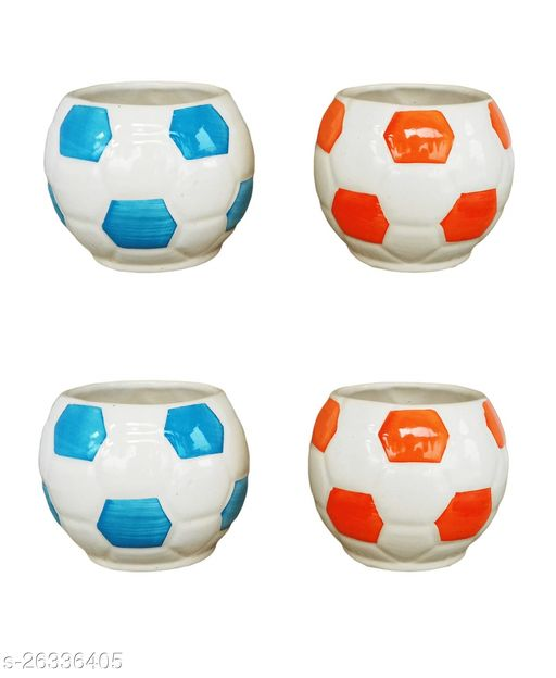 Football Ceramic Pot for indoor plants Plant Container Set of 4 PCS