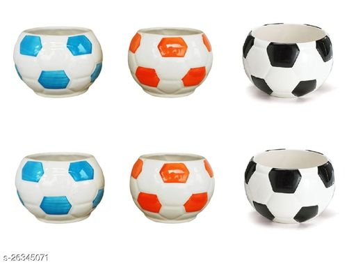 Football Ceramic Pot for indoor plants Plant Container Set of 6 PCS