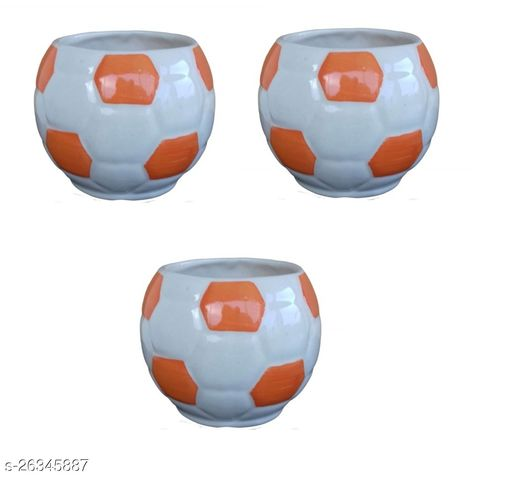 Football Ceramic Pot for indoor plants Plant Container Set of 3 PCS