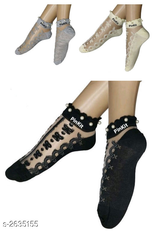 Fancy Cotton Mix Women's Embroidered Sock