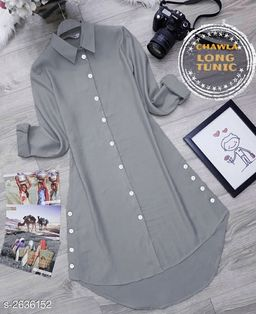 Women's Solid Grey Rayon Top
