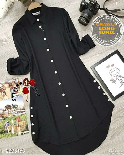 Women's Solid Black Rayon Top