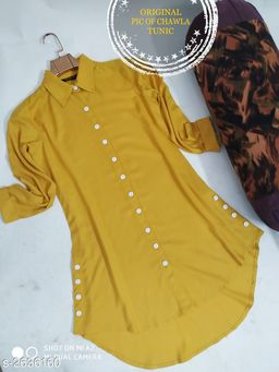 Women's Solid Mustard Rayon Top