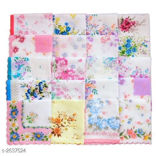 Classy Cotton Printed Women's Handkerchiefs (Pack Of 24)