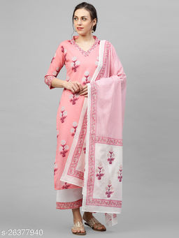Indo Era Pink Khari Printed Straight Kurta Palazzo with Dupatta Sets