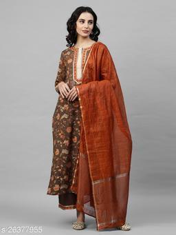 Indo Era Brown Printed Straight Kurta Palazzo with Dupatta Sets