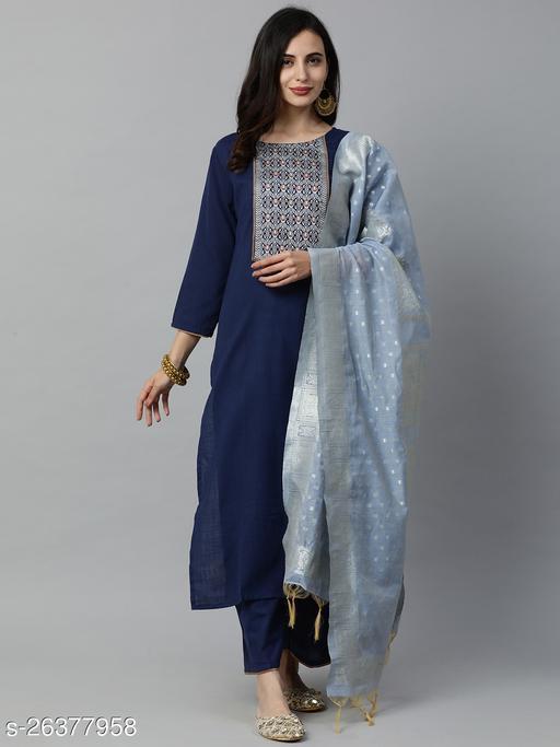 Indo Era Navy Blue Solid Straight Kurta Palazzo with Dupatta Set