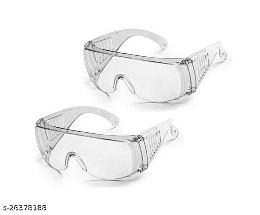 Stylewell Set Of 2 Pcs Non-Breakable FluFighter Eye Protective Light Weight, Chemical Splash Eye Protective Transparent Laboratory Safety Goggle