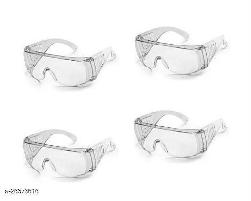 Utkarsh Set of 4 Pcs Non-Breakable FluFighter Eye Protective Light Weight, Chemical Splash Eye Protective Transparent Laboratory Safety Goggle