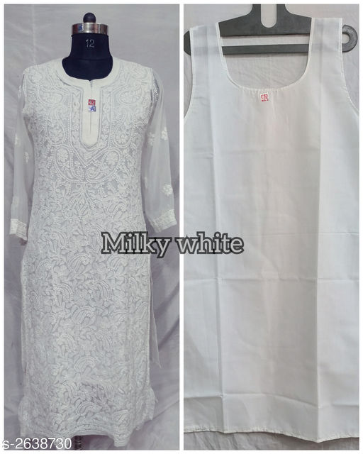 Kurtis & Kurtas Women's Chikankari White Chiffon Kurti Fabric: Kurti - Chiffon Georgette  Inner - Cotton Sleeves: Sleeves Are Included Size: M - 38 in L - 40 in XL - 42 in  XXL - 44 in  XXXL - 46 in Length: Up To 46 in             Type: Stitched Description: It Has 1 Piece Of Women's Kurti With Inner Work: Embroidery Country of Origin: India Sizes Available: M, L, XL, XXL, XXXL   Catalog Rating: ★4.1 (69)  Catalog Name: Alisha Trendy Chiffon Georgette Womens Kurtis Vol 2 CatalogID_356754 C74-SC1001 Code: 658-2638730-