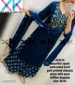 Rayon kurti with skirt Plazzo
