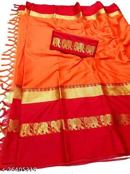 Rajawadi Elegant Elephant Design Cotton Silk Saree (Bhagwa & Red)