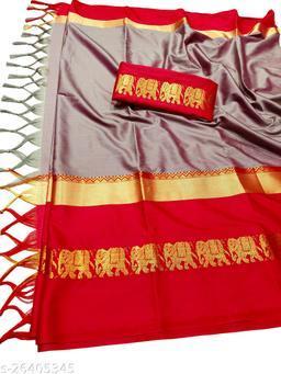 Rajawadi Elegant Elephant Design Cotton Silk Saree (Baby Pink & Red)
