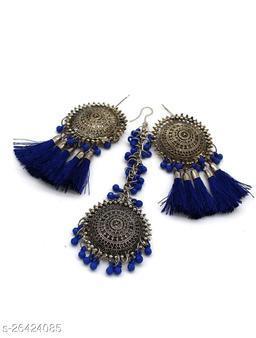 Mad Over Fashion Blue Bahubali Style Maangtika Set