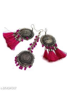 Mad Over Fashion Pink Bahubali Style Maangtika Set