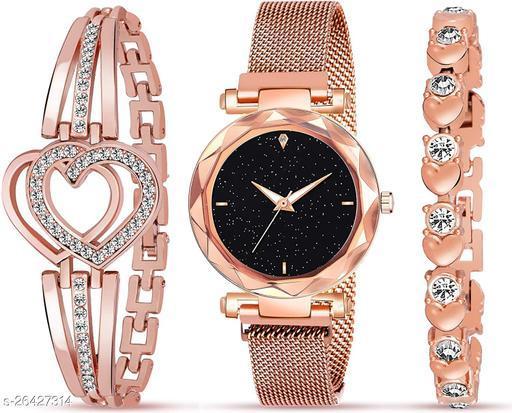 stylish analog watch and diamond bracelet combo for girls
