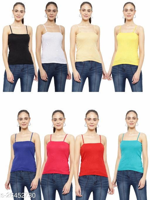 Women Pack of 8 Grey Cotton Blend Camisoles