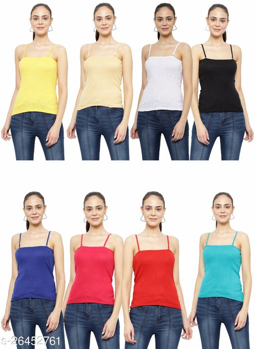 Women Pack of 8 Black Cotton Blend Camisoles