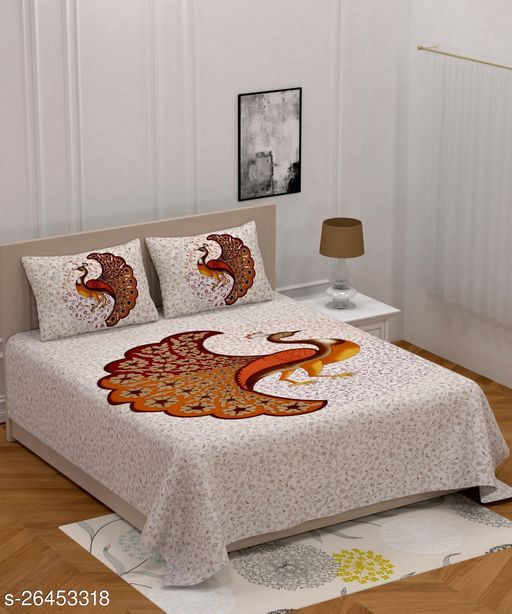 Cotton Double Bedsheet with 2 Pillow Covers 144 TC