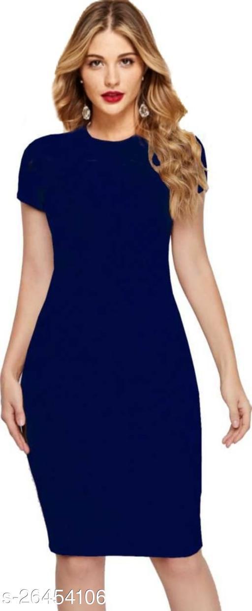 Short Sleeves Knee Length Hosiery Navy Blue Bodycon Dress