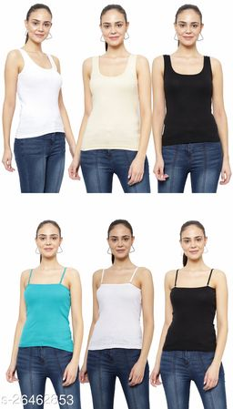 Women Pack of 6 Blue Cotton Camisoles
