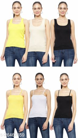 Women Pack of 6 Gold Cotton Camisoles