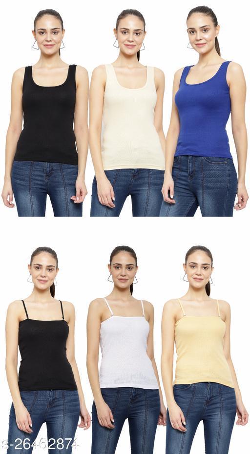Women Pack of 6 Metallic Cotton Camisoles
