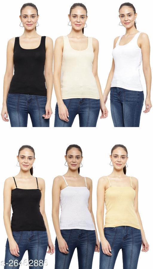Women Pack of 6 Beige Cotton Camisoles