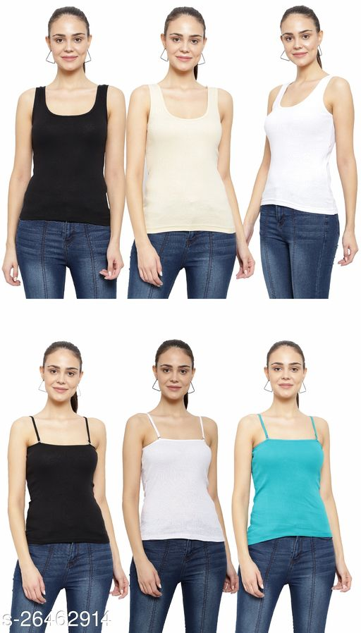 Women Pack of 6 Pink Cotton Camisoles