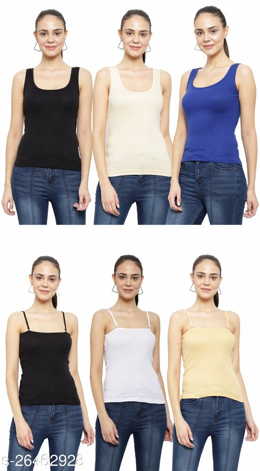 Women Pack of 6 Coral Cotton Camisoles