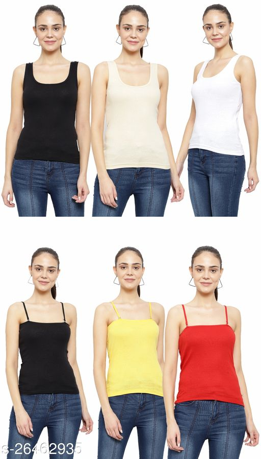 Women Pack of 6 Black Cotton Camisoles