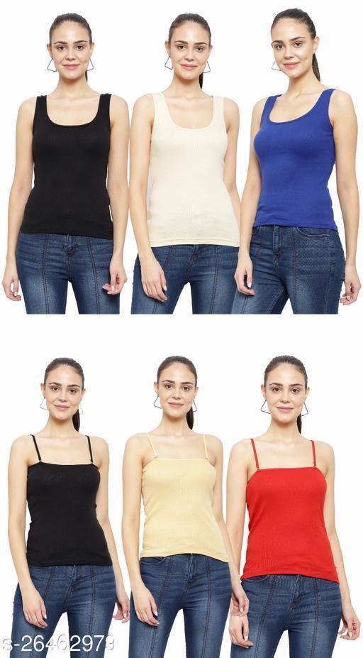 Women Pack of 6 Cream Cotton Camisoles
