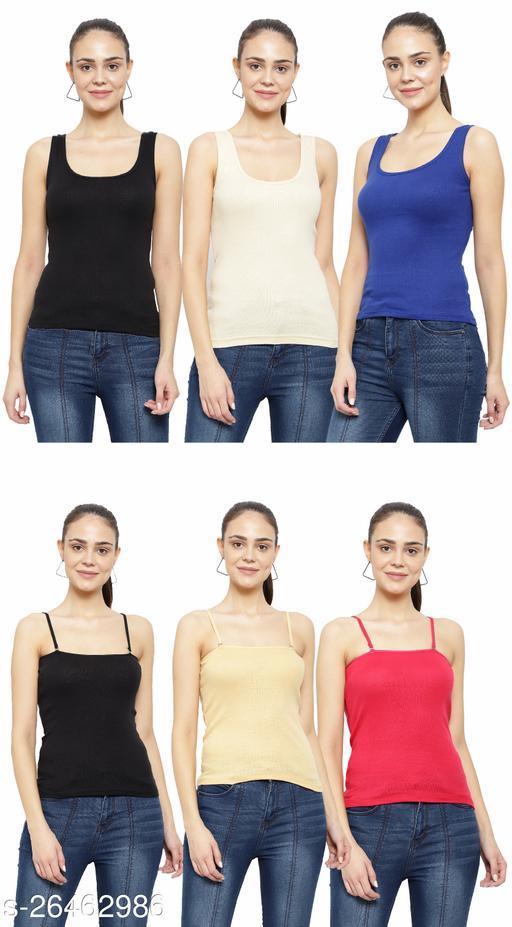 Women Pack of 6 Rust Cotton Camisoles