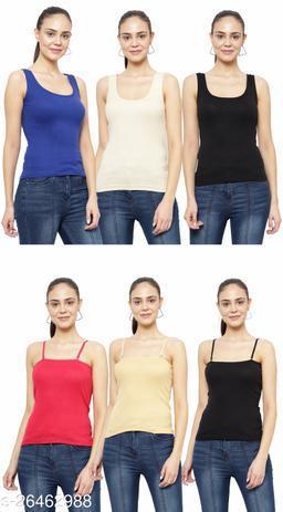 Women Pack of 6 Peach Cotton Camisoles