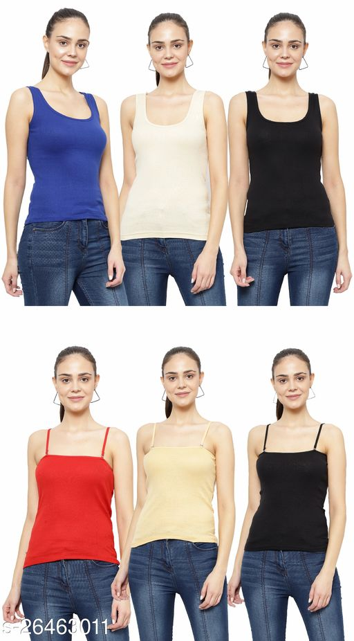 Women Pack of 6 Orange Cotton Camisoles