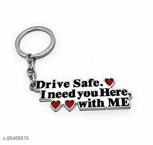 Drive Safe I Need You Here, With Me Key Chain ( COUPLE ) For Best Friend Boy Friend & Anniversary Gift Free Hand Bracelet Black