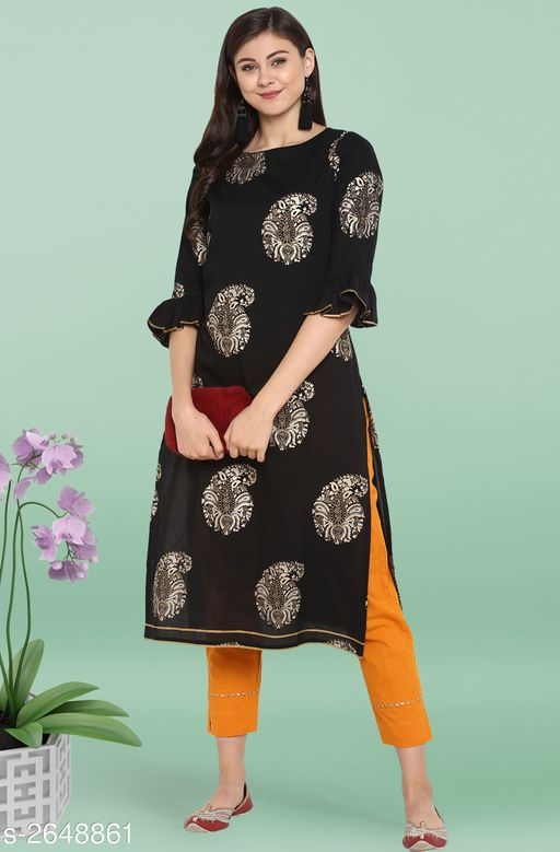 Kurta Sets Trendy Women's Straight Kurta Set   *Fabric* Kurti - Cotton, Pant - Cotton  *Sleeves* Sleeves Are Included  *Size* Kurti - XS - 34 in, S - 36 in, M - 38 in, L - 40 in, XL - 42 in, XXL - 44 in, 3XL - 46 in, Pant - Up To 28 in To Up To 36 in  *Length* Kurti - Up To 46 in, Pant - Up To 38 in  *Type* Stitched  *Description* It Has 1 Piece Of Kurti With Pant  *Work* Kurti - Foil Printed, Pant - Foil Printed  *Color* Kurti - Black, Pant - Yellow  *Sizes Available* S, L, XL, XXXL   Catalog Rating: ★3.2 (5) Supplier Rating: ★4.1 (4854) SKU: SET053-KR-NP Free shipping is available for this item. Pkt. Weight Range: 500  Catalog Name: Janasya Trendy Women's Straight Kurta Set Vol 2 - Janasya Code: 9111-2648861--