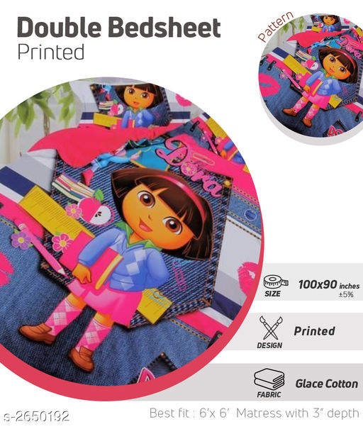 Microfiber Printed Kid's Double Bedsheet