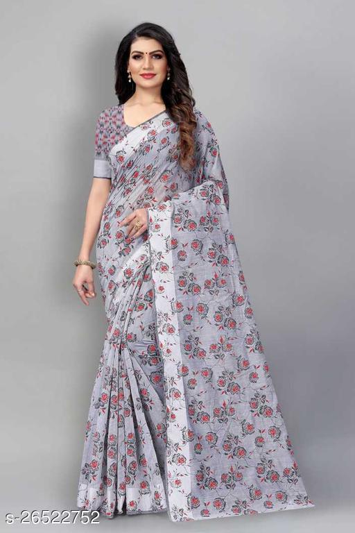 Trendy   Linen Blend  Sarees