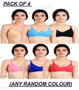 Women Trendy Magnet Bra Pack of 4 (Random Colour Will Be Send)