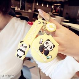 Cute Panda Pocket Mirror Keychain Round Pendant Makeup Keyring model 4 Yellow