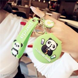 Cute Unicorn Panda Pocket Keychain Round Pendant Makeup Key ring model 2 Green