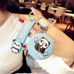 Cute Panda Pocket Mirror Keychain Round Pendant Makeup Key ring model 1 Blue