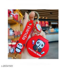 Cute Panda Pocket Mirror Keychain Round Pendant Makeup Key ring model 3 Red