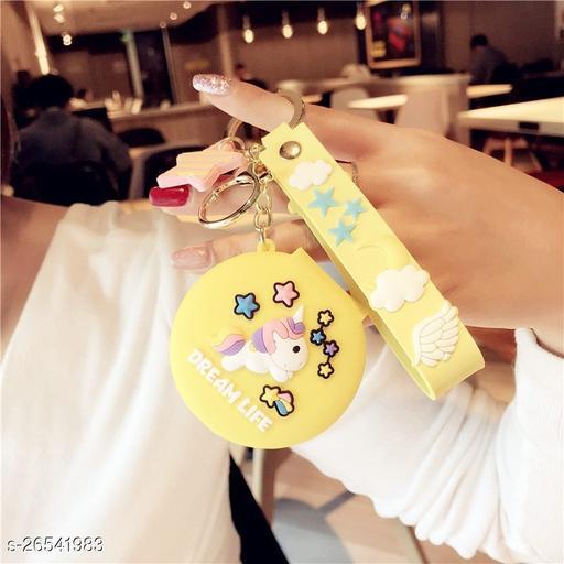 Cute Unicorn Pocket Mirror Keychain Round Pendant Makeup Keyring model 4 Yellow