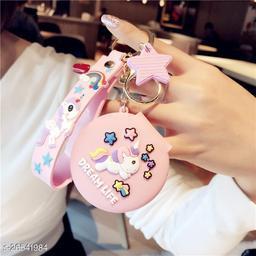 Cute Unicorn Pocket Mirror Keychain Round Pendant Makeup Key ring model 2 Baby pink light Pink