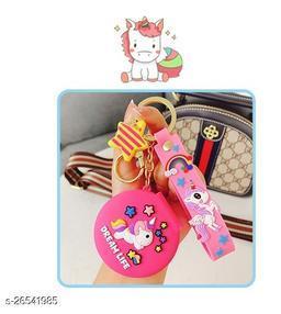 Cute Unicorn Pocket Mirror Keychain Round Pendant Makeup Key ring model 1 Pink
