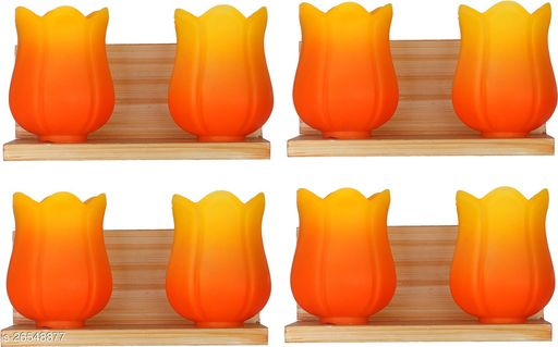 Somil New Royal & Stylish Twins Wall Lamp Light With Hand Decorative Colorful Glass (set of Four)