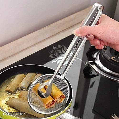 OGLS Multi-Functional 2 in 1 Fry Tool Filter Spoon Snack Strainer with Clip