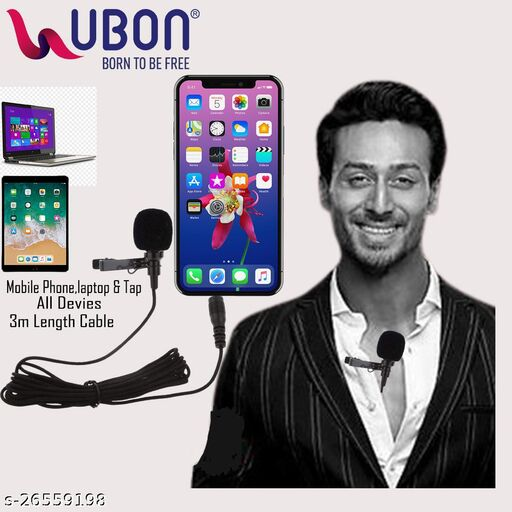 Ubon CM-21 3.5mm Aux Clip Microphone for Youtube Collar Mic Microphone 3 Mtr